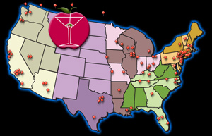 Map of PBSA Bartending School Locations